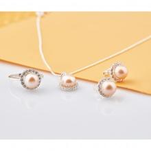 Opal Bộ trang sức Bạc đính Ngọc Trai hồng