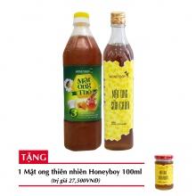 Combo mật ong thô Honeyboy 1000ml + Mật ong sữa chúa Honeyboy 500ml+ Tặng mật ong thiên nhiên Honeyboy 100ml trị giá 29,000VNĐ