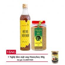 Combo mật ong thiên nhiên Honeyboy 500ml + Phấn hoa thiên nhiên Honeyboy 500g + Tặng nghệ đen mật ong Honeyboy 80g trị giá 36,000VNĐ