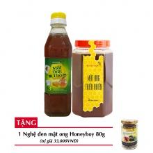 Combo mật ong thiên nhiên Honeyboy 1kg + Mật ong thô Honeyboy 400ml + Tặng nghệ đen mật ong Honeyboy 80g trị giá 36,000VNĐ