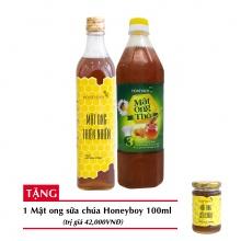 Combo mật ong thiên nhiên Honeyboy 500ml + Mật ong thô Honeyboy 1000ml + Tặng mật ong sữa chúa Honeyboy 100ml