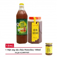 Combo mật ong thiên nhiên Honeyboy 1kg + Mật ong thô Honeyboy 1000ml + Tặng mật ong sữa chúa Honeyboy 100ml