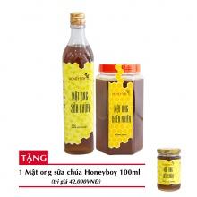 Combo mật ong thiên nhiên Honeyboy 1kg + Mật ong sữa chúa Honeyboy 500ml + Tặng mật ong sữa chúa Honeyboy 100ml