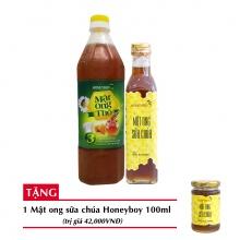 Combo mật ong thô Honeyboy 1000ml + Mật ong sữa chúa Honeyboy 250ml+ Tặng Mật ong sữa chúa Honeyboy 100ml