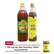 Combo mật ong thô Honeyboy 1000ml + mật ong sữa chúa Honeyboy 500ml+ Tặng mật ong sữa chúa Honeyboy 100ml