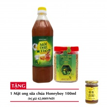 Combo mật ong thô Honeyboy 1000ml + Phấn hoa thiên nhiên Honeyboy 250g+ Tặng mật ong sữa chúa Honeyboy 100ml