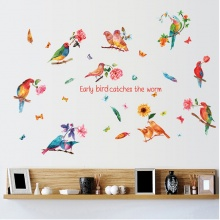 Decal dán tường đàn chim sắc màu PK462
