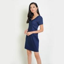 Đầm jean suông thời trang Eden cổ vest phối nút (Jean) - D260