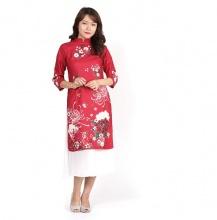Áo dài cách tân Amun họa tiết hoa cúc màu đỏ- AD57-DO