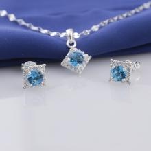 Set mặt kèm dây và hoa tai bạc đính đá Ross Opal sis_46