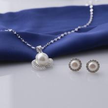Set mặt kèm dây và hoa tai bạc đính ngọc trai Opal sis_48