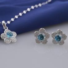 Set mặt kèm dây và hoa tai bạc đính đá Ross Opal sis_50