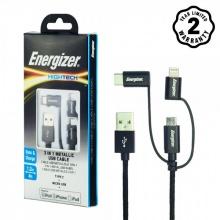 Cáp 3 trong 1 Lightning - MicroUSB - USB C Energizer Metallic 1m - C13UBX3CFBK4 (Đen)