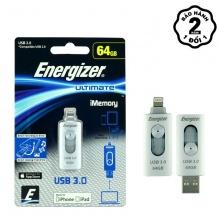 Ổ nhớ Energizer 64GB USB 3.0 OTG Lightning - FOTL3U064R (Xám)