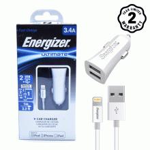 Bộ Sạc ô tô 2 cổng USB Energizer 3.4A - Kèm 1 cáp Lightning (White)