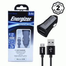 Bộ sạc ô tô 2 cổng USB Energizer 3.4A - Kèm 1 cáp Micro USB (Black)