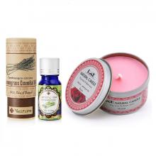 Combo nến thơm tinh dầu hoa hồng hộp thiếc và tinh dầu sả chanh Ecolife
