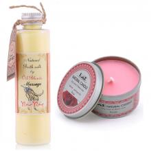 Combo nến thơm tinh dầu hoa hồng hộp thiếc và muối massage ngọc lan Ecolife