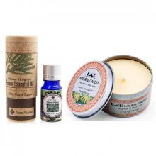 Combo nến thơm tinh dầu ngọc lan hộp thiếc và tinh dầu pơ mu Ecolife