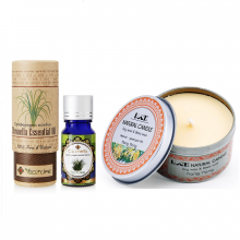 Combo nến thơm tinh dầu ngọc lan hộp thiếc và tinh dầu sả java Ecolife