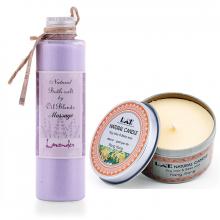 Combo nến thơm tinh dầu ngọc lan hộp thiếc và muối massage oải hương Ecolife