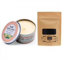 Combo nến thơm tinh dầu ngọc lan hộp thiếc và bột than Ecolife