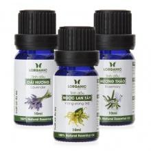 Bộ 3 tinh dầu hương hoa Lorganic: Ngọc lan tây + Oải hương + Hương thảo (10ml / Chai)
