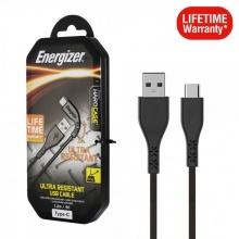 Cáp USB Type-C 2.0 Energizer 1.2m Siêu Bền Bảo Hành Trọn Đời - C41C2AGBKM (Đen)