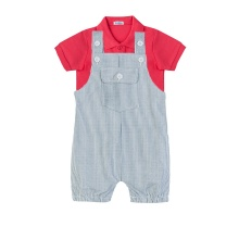 Set áo polo tay ngắn (đỏ) và quần yếm sọc cho bé trai Tiniboo