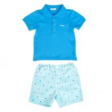 Set áo polo tay ngắn (Xanh dương) và quần short họa tiết cho bé trai Tiniboo