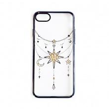 Ốp lưng iPhone 7/7 Plus Tuxedo Crystal đính đá (nhựa cứng, trong suốt, in hình Ngôi sao đen)