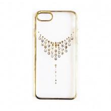 Ốp lưng iPhone 7/7 Plus Tuxedo Crystal đính đá (nhựa cứng, trong suốt, in hình Vòng cổ vàng)