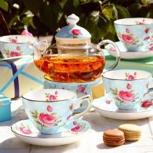 Bộ trà nến hoa hồng nền xanh