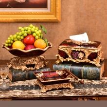 Set 3 món trưng bày phòng khách màu đỏ ( gồm: khay hoa quả, hộp giấy và gạt tàn)