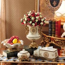 Set 4 món trưng bày phòng khách ( gồm: khay hoa quả, lọ hoa, hộp giấy và gạt tàn)