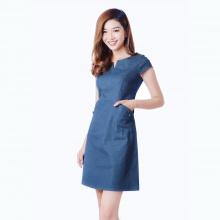 Đầm jean cổ xẻ kiểu v phối túi thời trang Eden d151