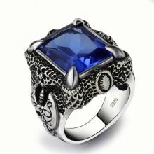 Nhẫn bạc nam đá CZ xanh dương Hadosa.2