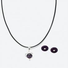 Bộ trang sức phong thủy bông tai và mặt dây chuyền đá thạch anh tím Ngọc Quý Gemstones