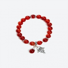 Vòng tay đá mã não đỏ mix charm Ngọc Quý Gemstones