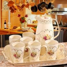 Bộ ấm trà châu Âu cổ điện 8 chi tiết hoa Vàng