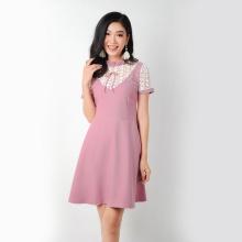 Đầm suông thời trang Eden phối ren cổ nhúng bèo - D266