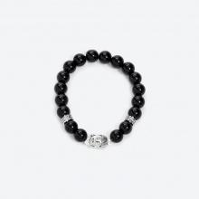 Vòng đá Obsidian phối charm phật bạc 925