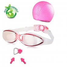 Bộ kính bơi, mũ bơi, bịt tai kẹp mũi G300 POPO Collection (Hồng)