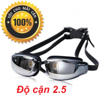 Kính bơi cận tráng gương (Độ cân từ 1.5 đến 8.0) chống UV, chống hấp hơi, kính thời trang cao cấp POPO Collection (Đen - Cận 2.5)
