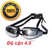 Kính bơi cận tráng gương (Độ cân từ 1.5 đến 8.0) chống UV, chống hấp hơi, kính thời trang cao cấp POPO Collection (Đen - Cận 4.0)