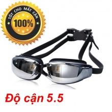 Kính bơi cận tráng gương (Độ cân từ 1.5 đến 8.0) chống UV, chống hấp hơi, kính thời trang cao cấp POPO Collection (Đen- Cận 5.5)