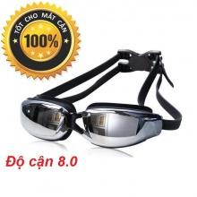 Kính bơi cận tráng gương (Độ cân từ 1.5 đến 8.0) chống UV, chống hấp hơi, kính thời trang cao cấp POPO Collection (Đen - Cận 8.0)