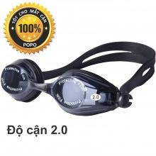 Kính bơi cận tráng gương (Độ cân từ 1.5 đến 8.0) chống UV, chống hấp hơi, kính thời trang cao cấp POPO Collection (Đen - Cận 2.0)