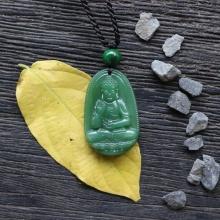 Mặt Phật A Di Đà đá ngọc tuỷ xanh lá (trung: 3x 2.3 cm)