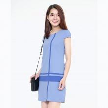 Đầm công sở phối sọc thời trang Eden d120 (xanh nhạt)